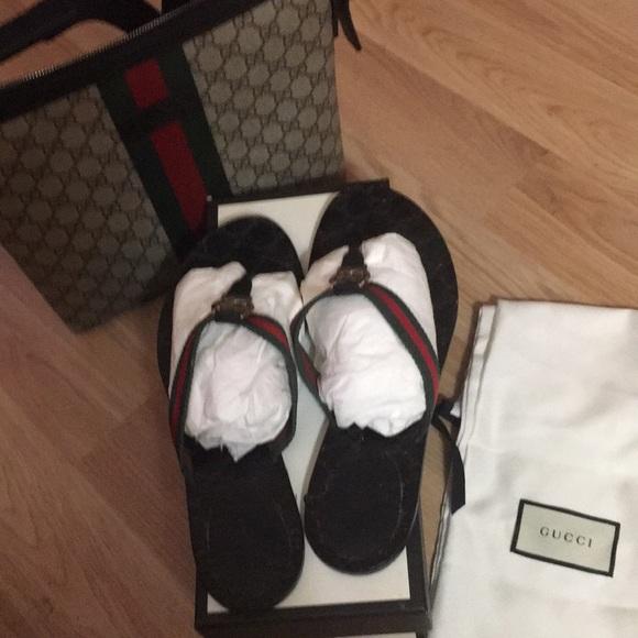 19d0876cff4a3 Gucci Shoes - Classic Gucci GG Web Thong Sandal